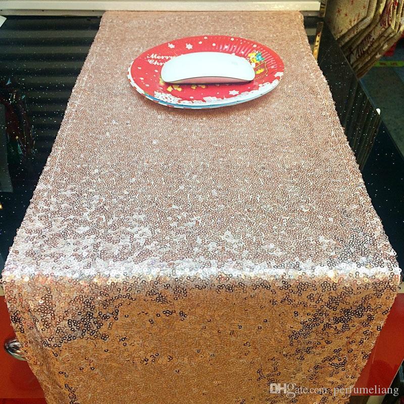 525cdfab1 Compre 30 * 275 Cm Tela De Mesa Runner Oro Plata Lentejuela Mantel Brillante  Bling Para El Banquete De Boda Decoración DIY ZA4899 A $5.64 Del  Perfumeliang ...
