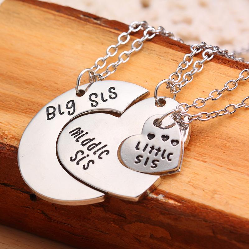 Wholesale family jewelry 3 puzzle parts big sister middle sister 3pcsset family jewelry 3 puzzle parts big sister middle sister little sister best pendant necklaces fashion for women mozeypictures Image collections