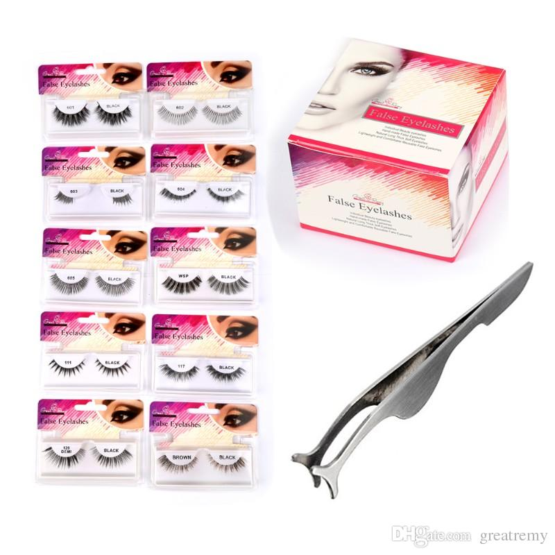 Grearemy New Travel Eyelashes with Professional False Eyelashes Extension Applicator Remover Clip Tweezers Nipper Silver
