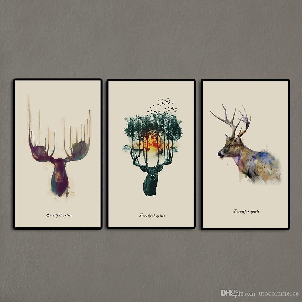 2017 3 panels triptych watercolor animal beautiful deer art prints elk wall picture canvas painting kids room home decor unframed from utocommerce
