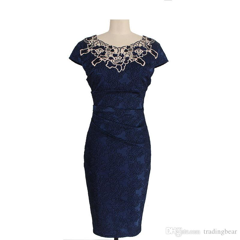 Elegant Women Lilac Foral Embroidery Crew Neck Formal Dress Party Evening Bodycon Clothing Size S to xxl