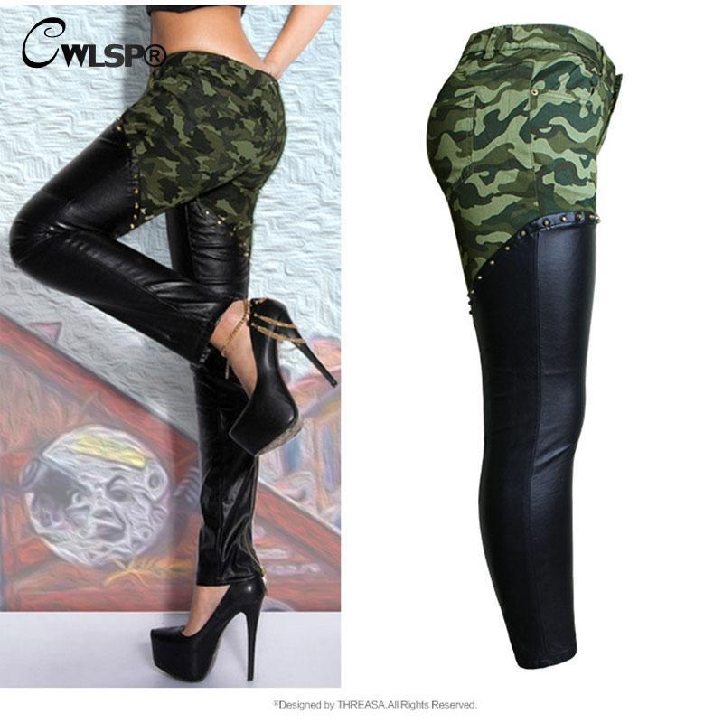 CWLSP 2017 Herbst Camouflage PU leder Patchwork Bleistift Hosen Frauen Zurück Reißverschluss Boyfriend Style Jeans Weibliche Hosen Unten