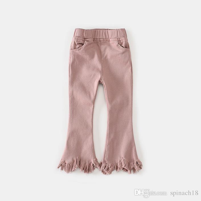2017 Otoño Niñas Llamaradas Pantalones Bebé Niños Pantalones Elásticos Borlas Niños Chica Pantalones Negro Rosa 13306