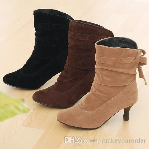 wholesaler factory price hot seller new style bowknot kitten heel women sexy fashion boot shoe 093