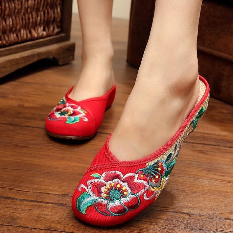 481dc593 Compre Al Por Mayor Nuevo Chino Bordado Zapatillas Hibisco Lienzo Bordado  De Lino Señoras Ocasionales Zapatos De Mujer A $19.44 Del Vickay    DHgate.Com