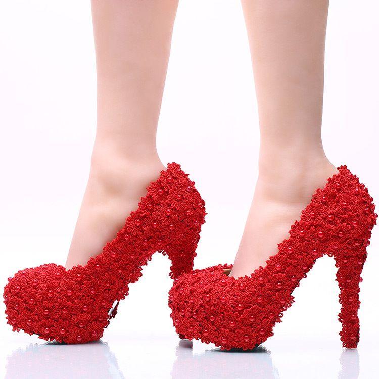Aşk Anlar Gelinlik ayakkabı Kadın Çiçek Dantel Platformu Yüksek Topuklu İnciler Düğün Ayakkabı Gelin Kadın Elbise Ayakkabı