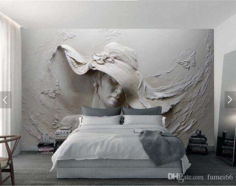 Benutzerdefinierte Wallpaper 3D stereoskopische Geprägte Graue Schönheit Ölgemälde Moderne Abstrakte Kunst Wandbild Wohnzimmer Schlafzimmer Tapete