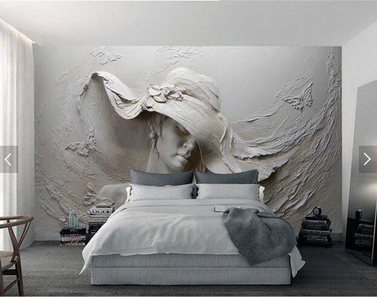 Özel Duvar Kağıdı 3D Stereoskopik Kabartmalı Gri Güzellik Yağlıboya Modern Soyut Sanat Duvar Duvar Oturma Odası Yatak Odası Duvar Kağıdı