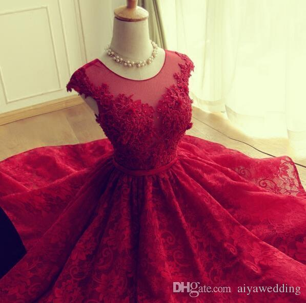 2019 Red Lace Homecoming Dresses Short Mini Skirt Sheer Neck Tulle Appliques Graduation Prom Party Gowns Vestidos De Fiesta Cortos