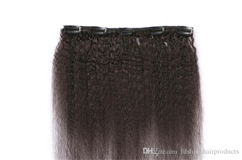 Cambodian Kinky Straight Clip In Hair Extensions for African American Unprocessed Human Hair Extensions Natural Black FDshine HAIR