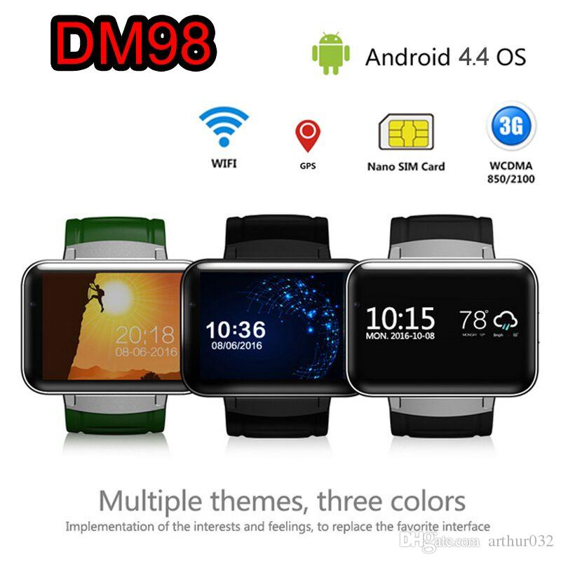 DM98 Smart Watch GSM Phone Android 4.4 With GPS 3G WIFI WCDMA Health Fitness Wristwatch Sleep Monitor Bluetooth Wearable Devices Smartwatch