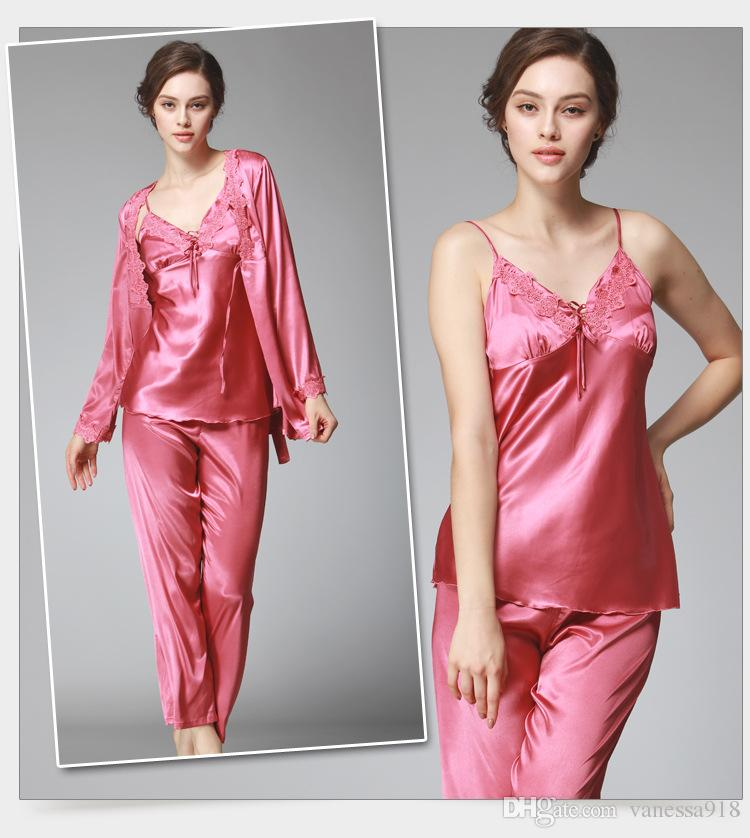 Lace Pajama Sets pyjamas Women Pajamas set lingerie sexy sleepwear female Nightwear silk pajamas woman with free gift bag SJYT52