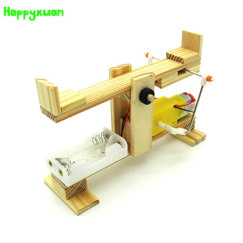 Happyxuan Diy Electric Seesaw Technology Production Materials Package Science Experiment Wooden Assembled Model Education Toys