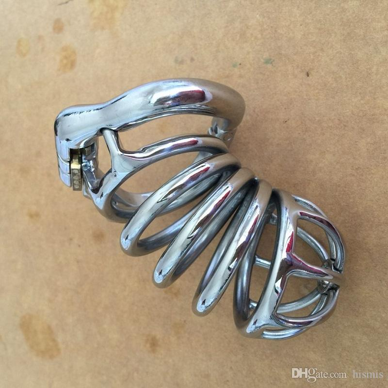 80MM Length Open Mouth Snap Ring Male Stainless Steel Chastity Cage Penis Bondage Men Sex Toys for BDSM