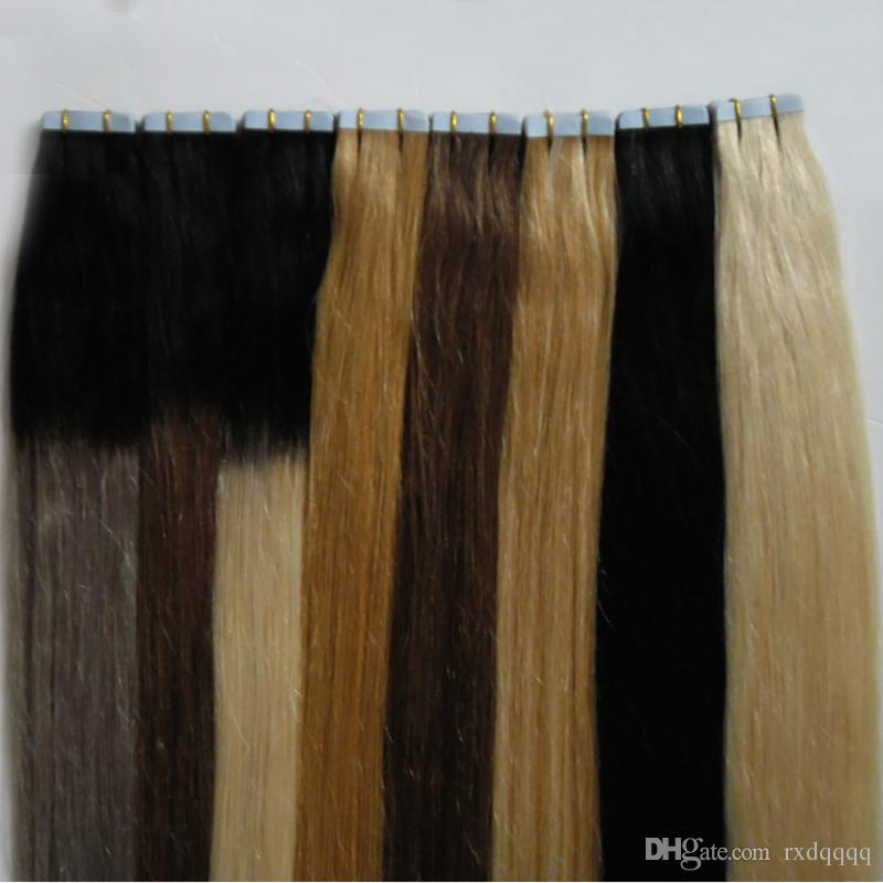 # 27 # 1 # 60 # 1b / grigio # 1b / 8 # 1b / Nastro nelle estensioni dei capelli umani 40 pezzi Capelli biondi brasiliani Ombre diritte naturali Capelli vergini Remy 100g