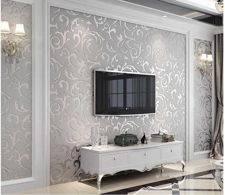 5.3sqm Silver Wallpaper Damask Style Modern 3d Scroll Wall Paper Grey Non  Woven Paper For Living Room Tv Background High Resolution Wallpapers For  Desktop ... Part 30