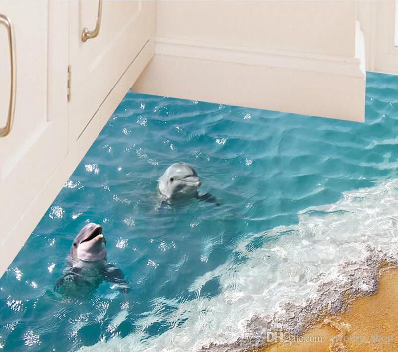 Beautiful Sea Wall Sticker Cute 3D Dolphin Floor Stickers Waterproof  Bathroom Sticker Eco Friendly Kids Wallpaper 6 Styles