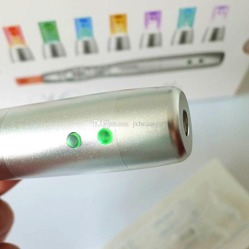 Şarj edilebilir Microneedle LED Derma Kalem PDT Foton Cilt Gençleştirme Dermapen 32 adet İğne Kartuşları Ile DHL Ücretsiz Kargo