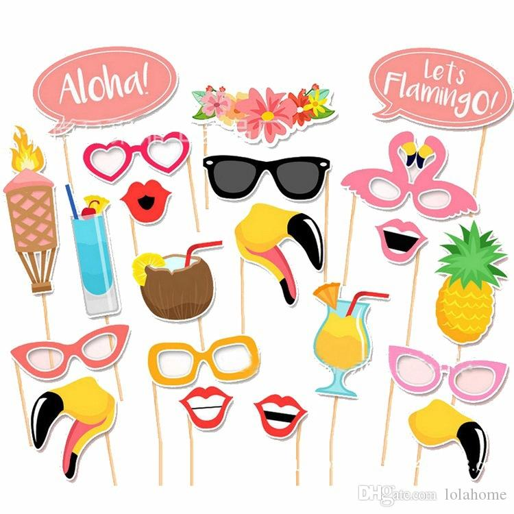 2017 New /DIY Party Masks Hula Flamingo Photo Booth Props On A Stick Wedding Party Favor Photographs