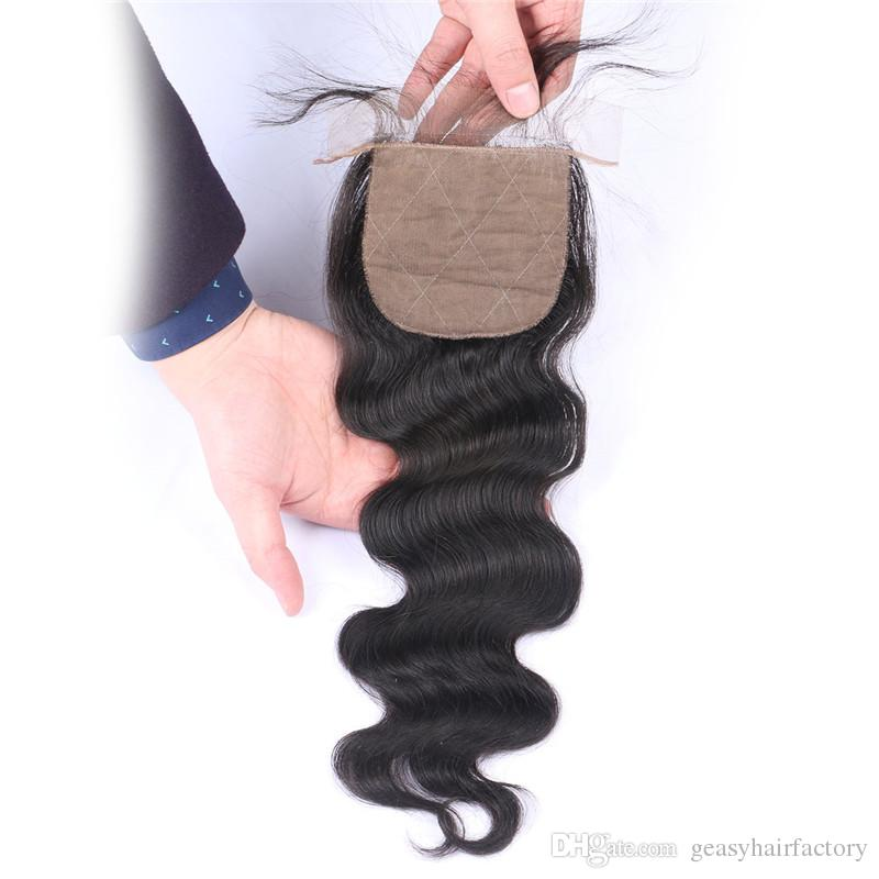 4*4 Bleached Knots Silk Base Closure With Baby Hair 8-22inch Mongolian Body Wave Hair Closures Bleached Knots LaurieJ Hair