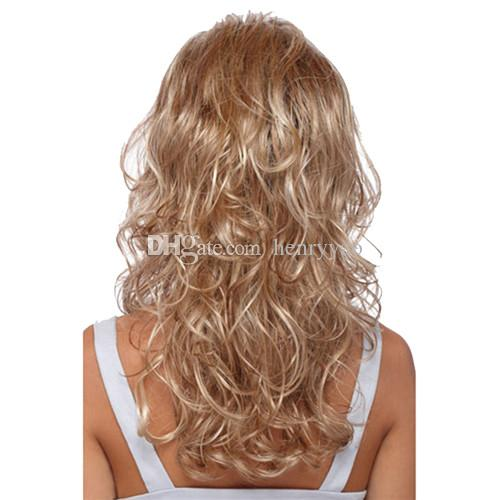 Cheap Long Wig Deep Wave Synthetic Hair Blonde Wigs Side Bang Wig for Women Heat Resistant Synthetic Wig