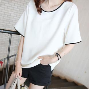 Wholesale Fashion Cheap T Shirts Women Solid Color Ringer Round ...