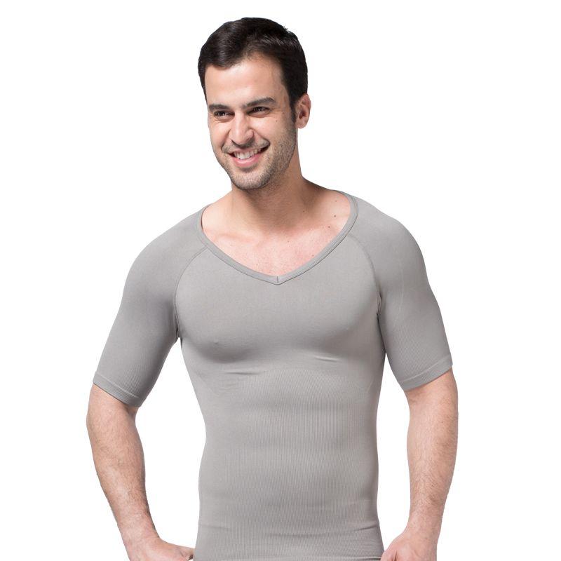 Men's body shaped wear T-shirt V-Collar body short-sleeved abdomen ZEROBODYS breathable white color S XL high elasticity fiber hip-long