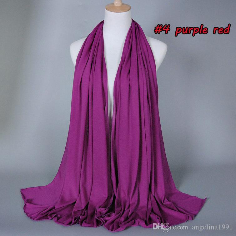 Écharpe femme Hijabs Plaine Coton Modal Couleur Unie Châles Islamique Bandeau Wraps Jersey Écharpes Musulman Foulards 180 * 85cm 30 couleurs
