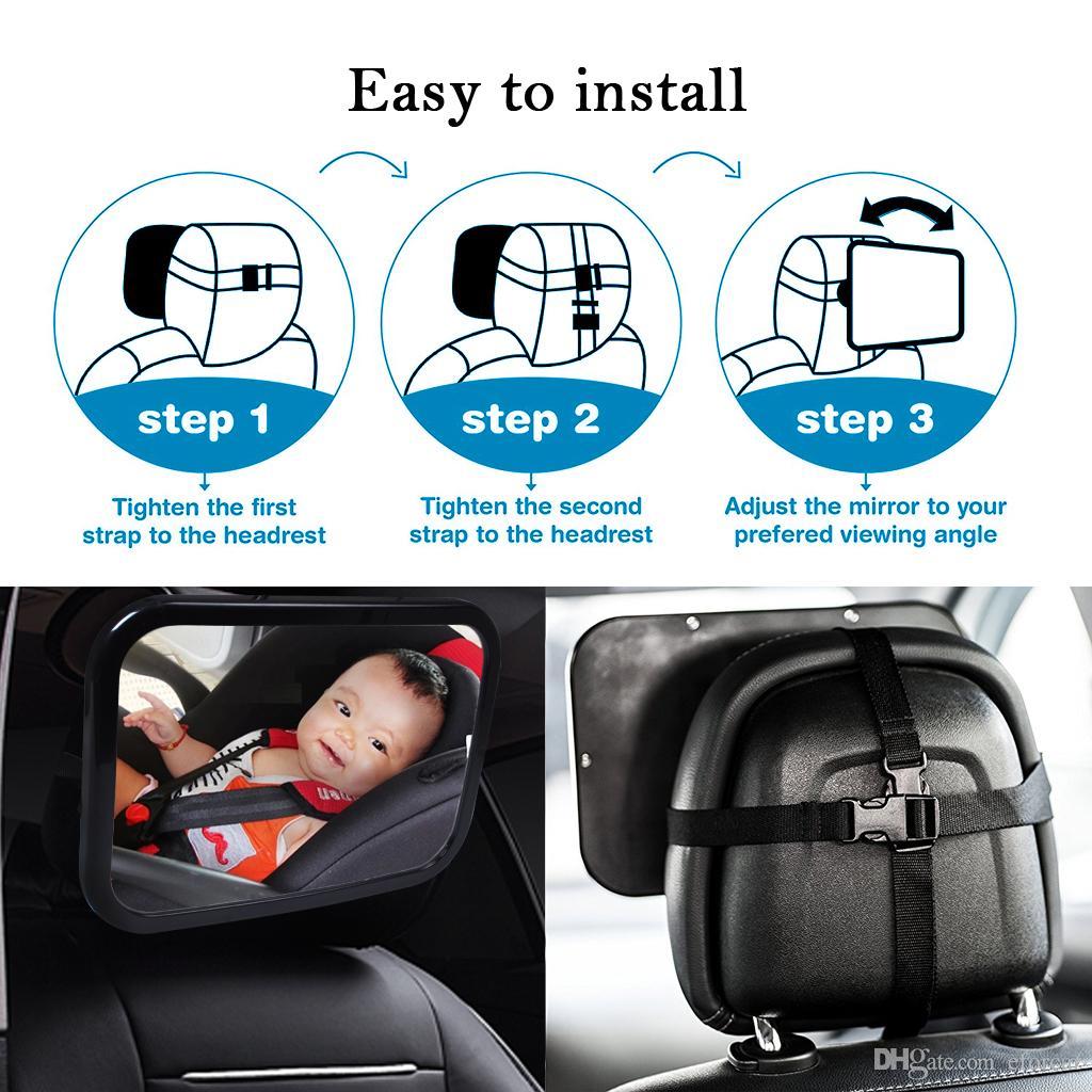 Miroir de sécurité pour siège arrière pour voiture SUV Miroir pour enfant testé contre le crash pour la vue de l'arrière de la voiture Rotation à 360 degrés