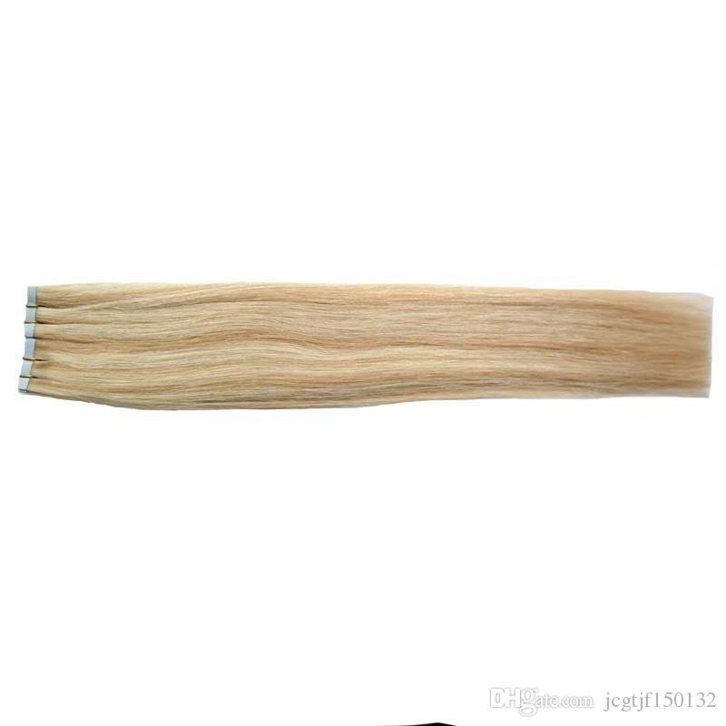 Klebeband in menschlichen Haarverlängerungen 40 stücke P27 / 613 Klavierfarbe Blondine Brasilianische Haar Haut Schussband Haarverlängerungen 100g doppelt gezogenes Band in