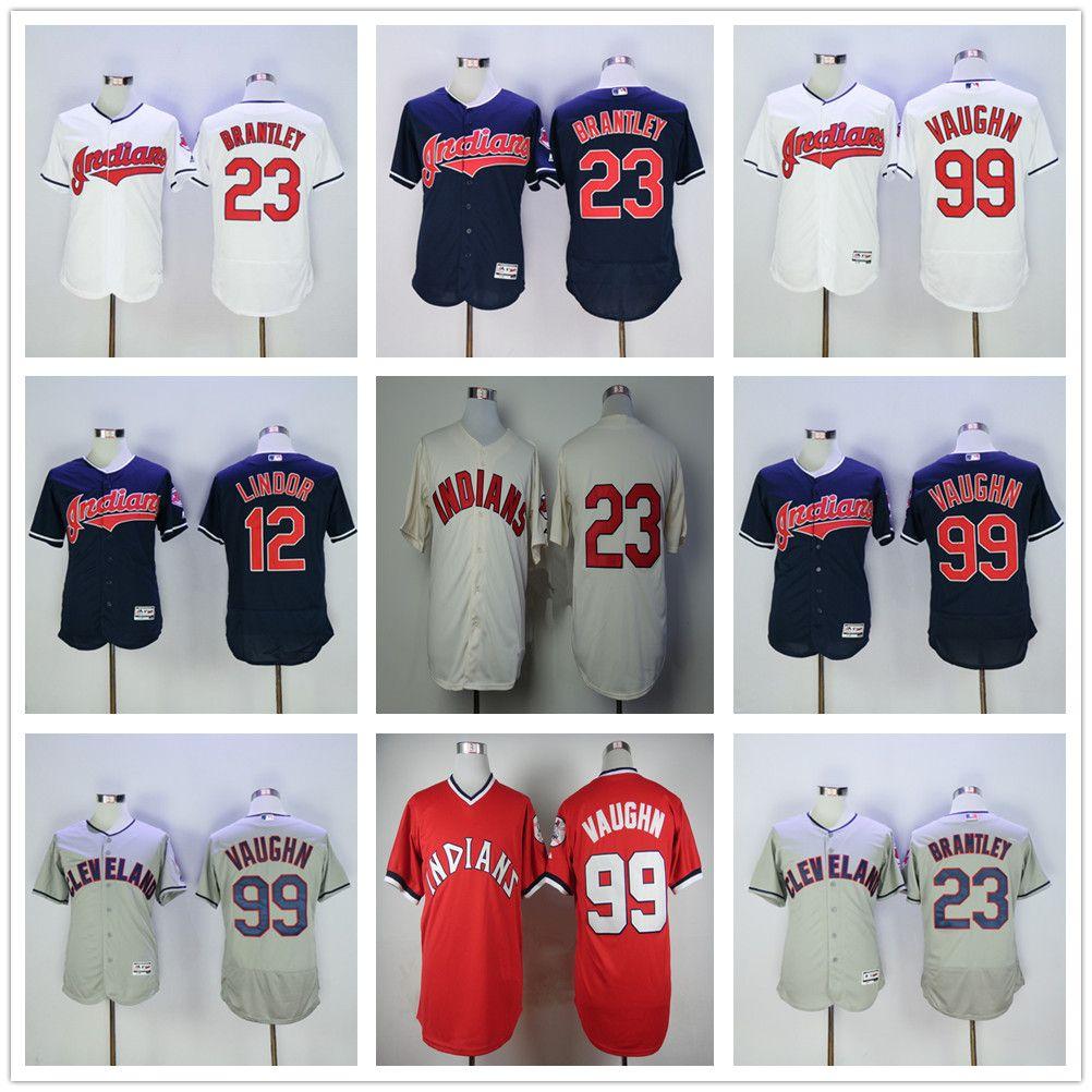 2017 cleveland indians 99 rick vaughn baseball jerseys elite 23 michael  brantley 12 ...