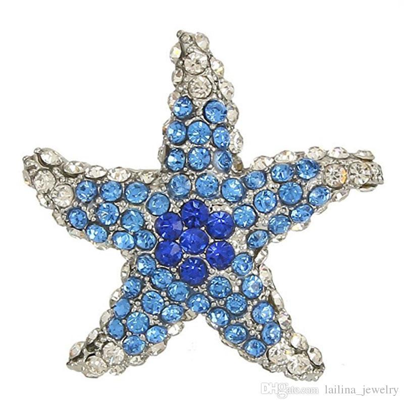 Blue Color Rhinestone Cute Crystal Starfish Brooch Silver-Tone Brooch Pin Jewelry