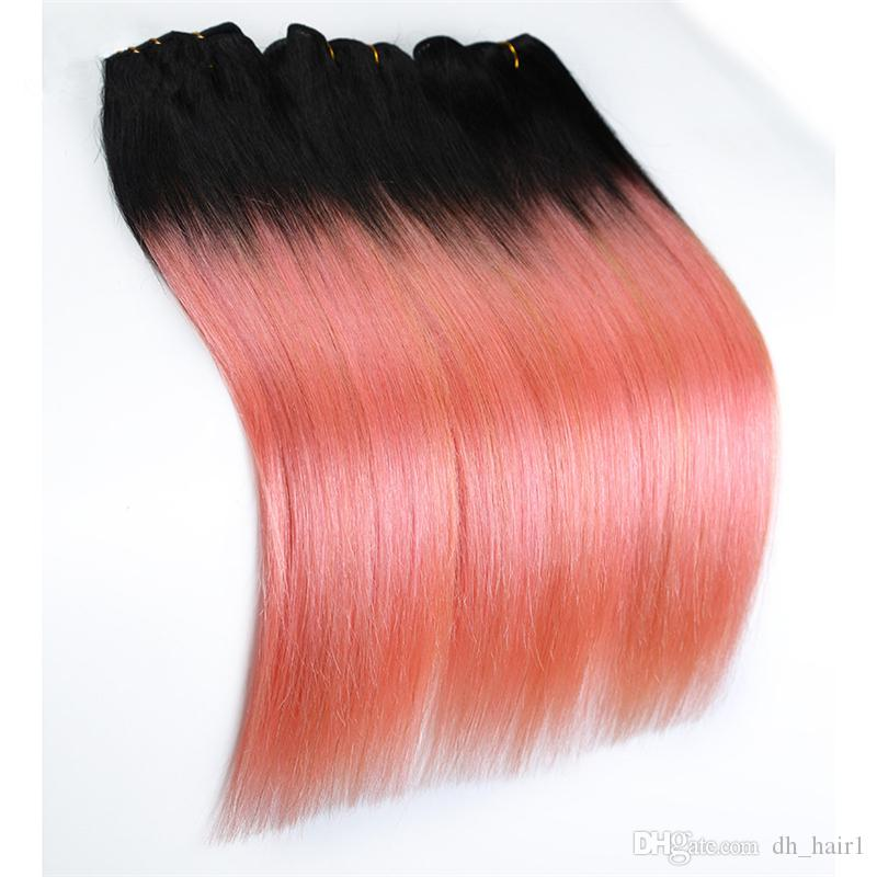 Top 1B Rose Gold Ombre Menschenhaarverlängerungen Brasilianisches gerades Haar Zwei Ton 1b / Rosa Ombre Reines Haar 300g Weaves