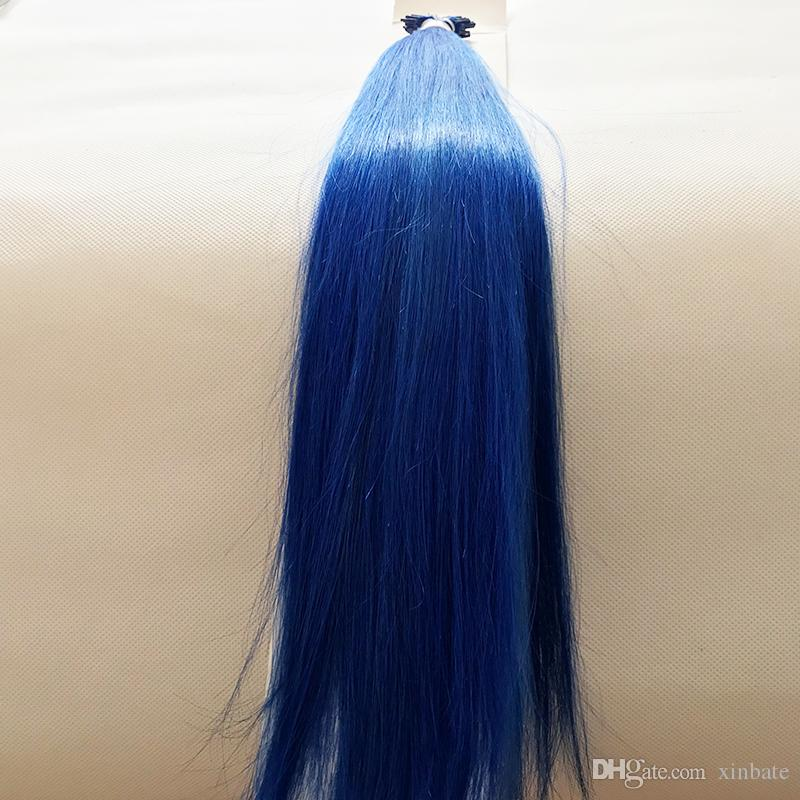 Blue Color 8inch 30inch Custom 100g Thick Remy Stick Tip Indian