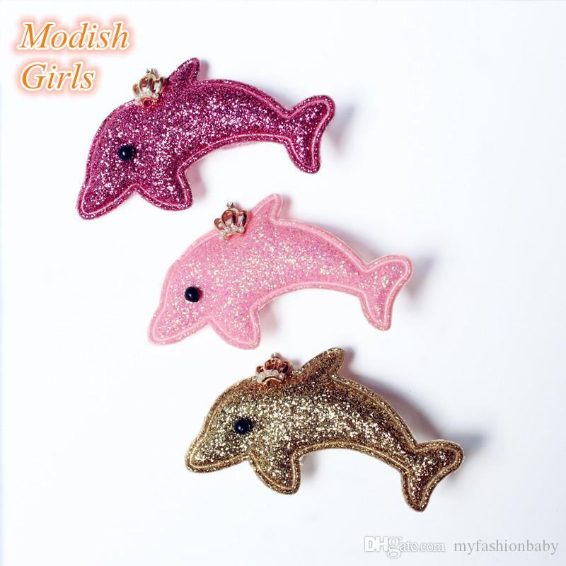 Animals Cartoon Dolphin Glitter Felt Hair Clips Kids Hairpins Cute Kids Hair clips Cartoon Dolphin With Crown Hairpins