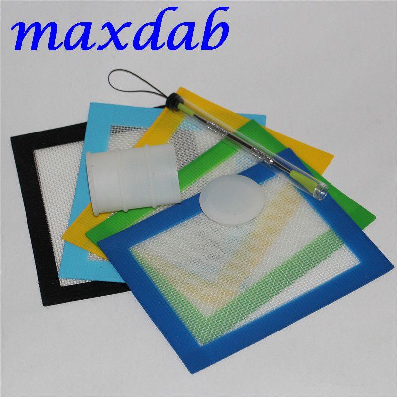 Set de cire de silicone avec des feuilles carrées de 14cm * 11.5cm tapis tapis de tambour de silicium de 26 ml long outil slab dabber pour herbe sèche