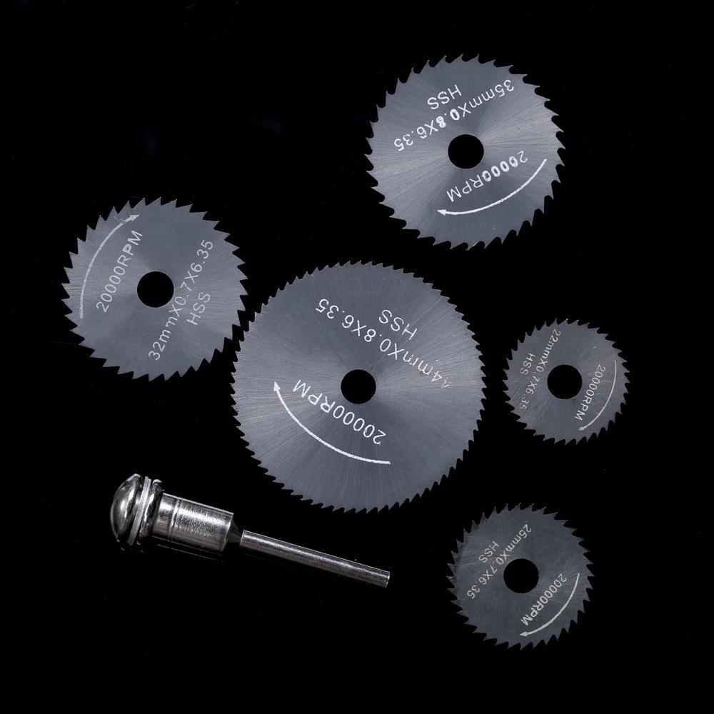 6pcs HSS Circular Saw Blades Rotary Cutting Tools Set multi tool for Power Tool Wood Cutting Discs dremel Drill Mandrel Cutoff