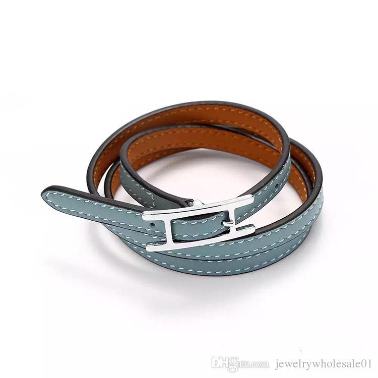 Оптовая продажа ювелирных изделий H пряжка для ремня, трехслойный кожаный браслет, браслет Kell, кожаный браслет H, браслет для мужчин и женщин