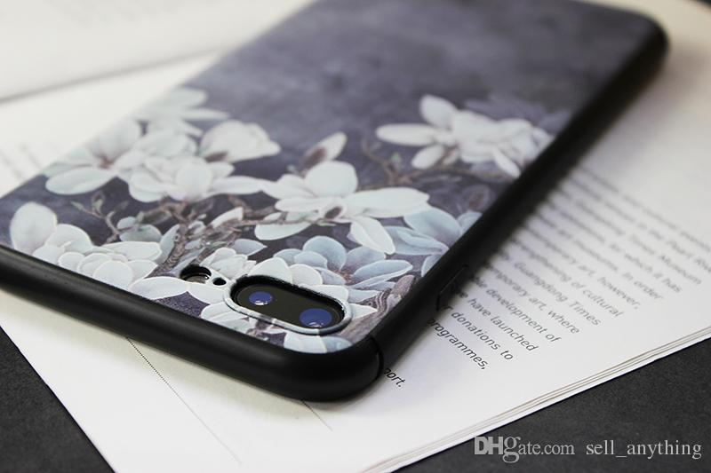 For Iphone 7 Cell Phone Case Bloom Plum Flowers Literature And Art Fresh Embossment Phone Case For Iphone 7plus 7 Plus