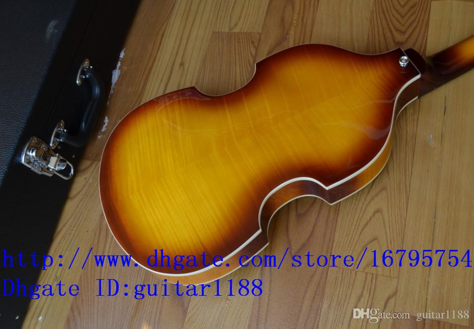 wholesale and retail music instrument new Big John 4-strings violin design electric bass guitar+suitcase F1173