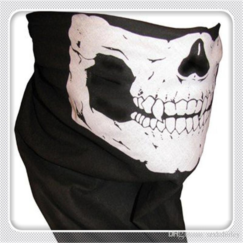 Outdoor Cycling Masks Multi Function Headwear Skull Bandana Motorcycle Helmet Neck Half Face Masks Motorcycle Bike Bicycle Black Tube Mask