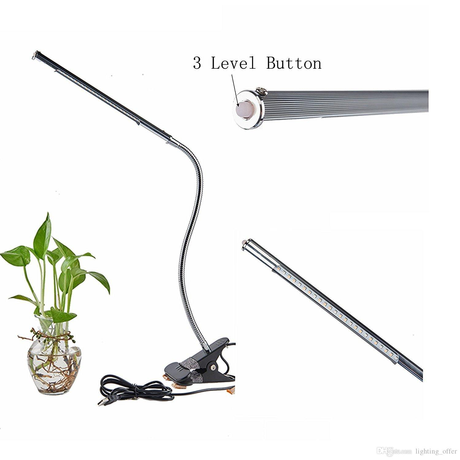 Led Grow Lights Plants 5W Adjustable 3 Level Dimmable Clip Desk Lamp with Office Home Indoor Garden Greenhouse Organic Free Cord Plant Light