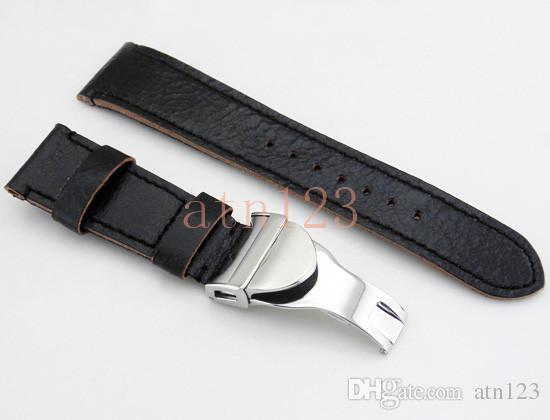 Corgeut 22 мм черный ремешок для часов кожаный ремешок для часов 145 мм/67,5 мм ремешки для часов для мужчин замена ремешков со стальной пряжкой P378