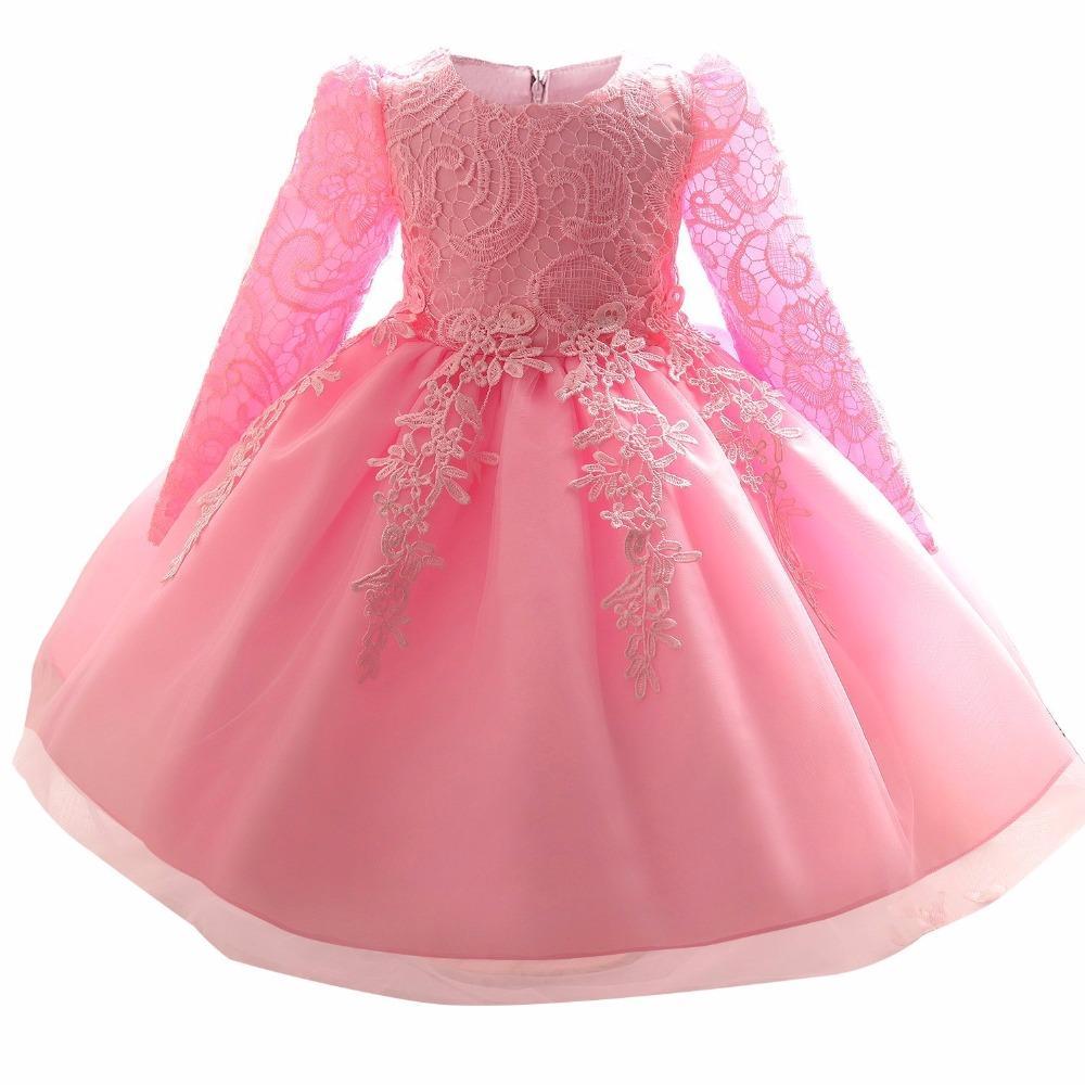 dd612e2d287 Compre Al Por Mayor Bautismo De Invierno Vestidos Para Niñas Vestidos De  Niña De Flores Vestido De Tutú Infantil Recién Nacido 1 Año De Cumpleaños  Princesa ...