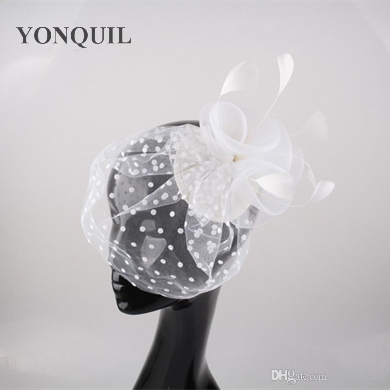 New Feather hairclips with dot veil flower hat hair accessories mesh fascinators bride wedding millinery party cocktail headwear