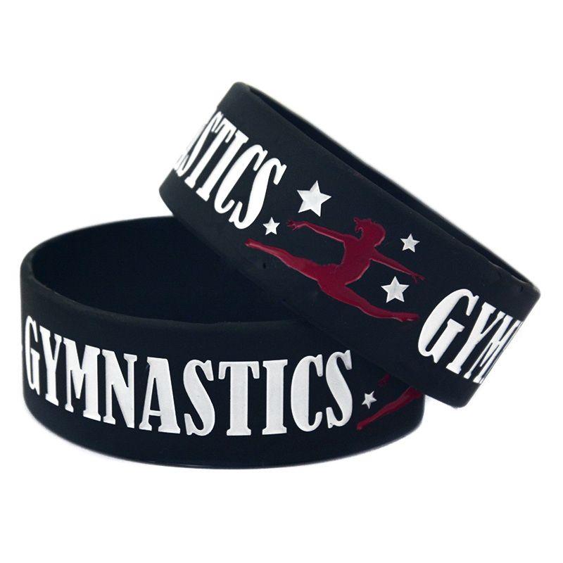 "Silicone Dancer Wristbands 1"" Wide Gymnastics Sport Silicone Bracelet Fitness Bangles Custom Silicone Wristband"