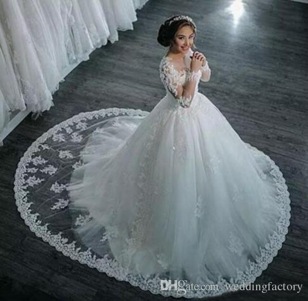 공주 레이스 공 가운 웨딩 드레스 Vestido de Novia 환상 긴 소매 파란색 레이스 아플리케 푹신한 신부 가운 기차