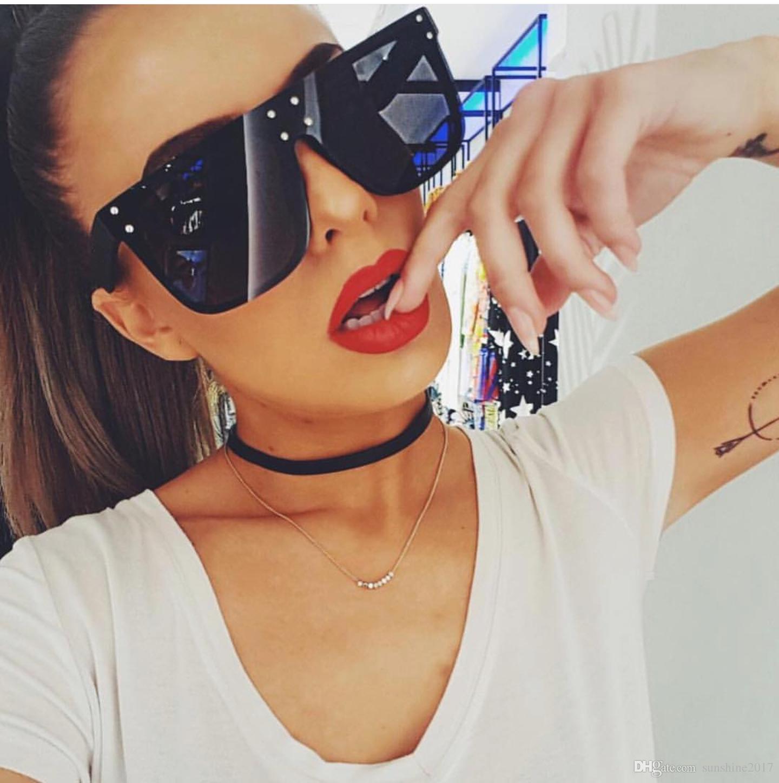 Gafas de sol cuadradas extragrandes mujer gafas de sol planas de moda marca australiana vintage retro tonos Big Black glasses ladies 2019 new