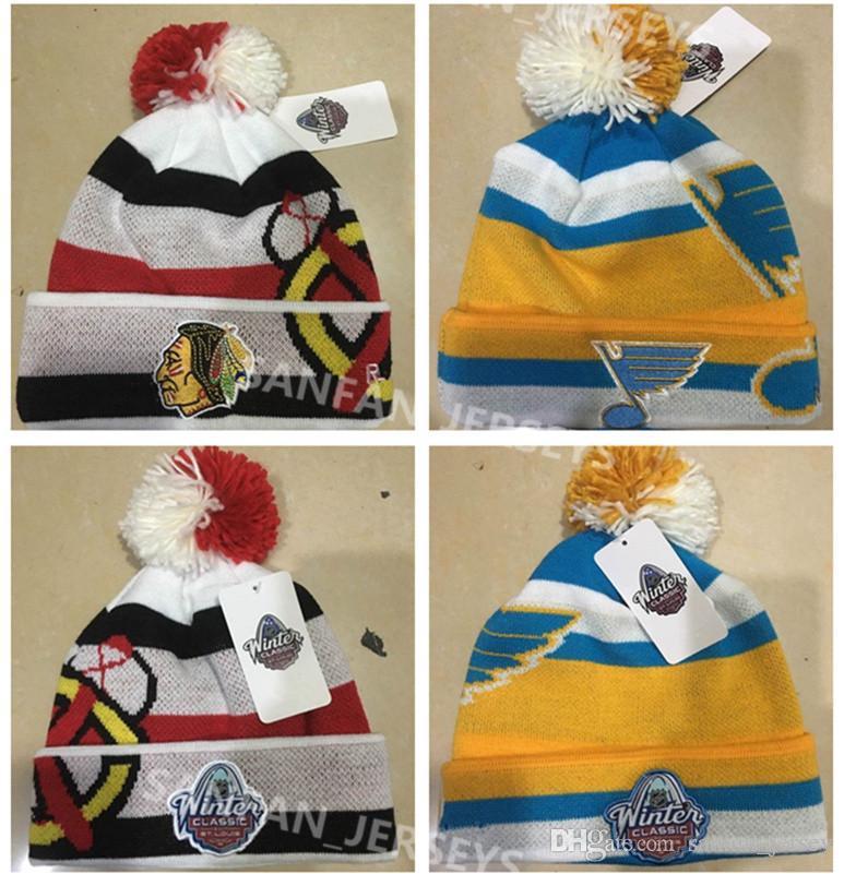Großhandel 2017 Winter Classic Beanies Amerikaner Chicago Blackhawks  Eishockey Knit Beanie Gelb Weiß Stl Blues Cap Kostenloser Versand Von  Sanfan jersey 491a2a0bc0a