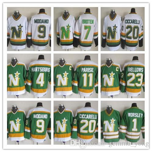 8ffadea33 germany minnesota throwback ccm north stars hockey jerseys 1 gump worsley 9  mike modano 20 dino
